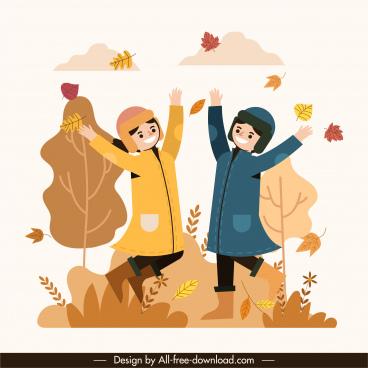 autumn painting active joyful friends falling leaves sketch