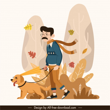 autumn painting man puppy sketch cartoon design