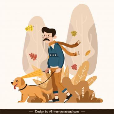 autumn painting man puppy sketch cartoon design