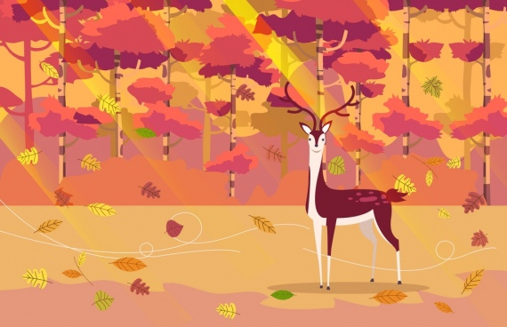 autumn painting reindeer falling leaves icons ornament