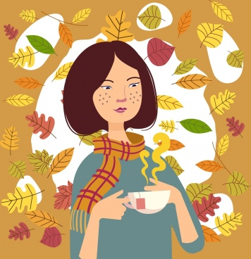 autumn painting relaxing girl tea cup leaves icons