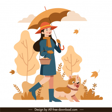 autumn painting walking girl dog icon cartoon sketch