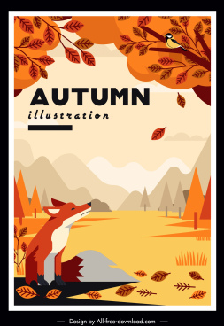 autumn painting wild scenery fox bird tree sketch