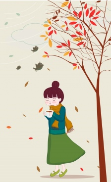 autumn painting woman falling leaves birds cartoon design