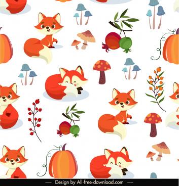 autumn pattern template bright colorful nature elements decor