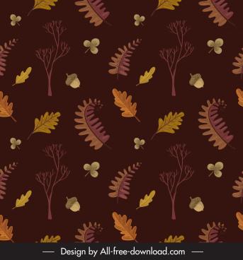 autumn pattern template dark classical nature elements decor