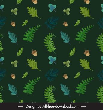 autumn pattern template dark green retro nature elements