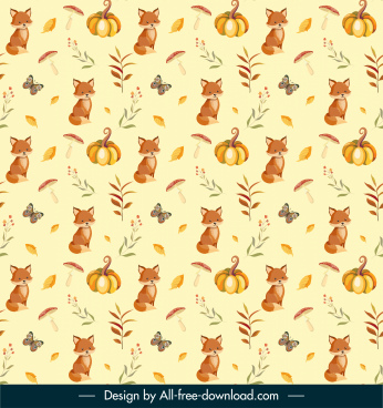 autumn pattern template nature elements decor repeating design