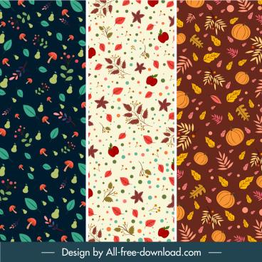 autumn pattern template plants elements colorful retro design