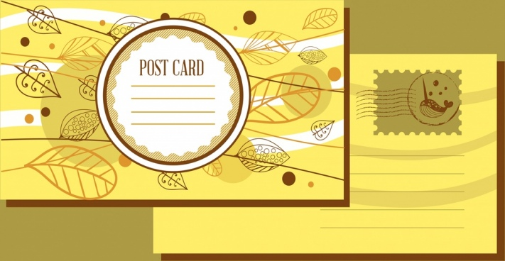 autumn postcard template yellow decoration leaves icons sketch