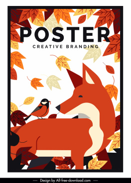 autumn poster classical colored leaves fox bird decor