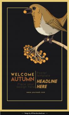 autumn poster template dark retro design bird sketch