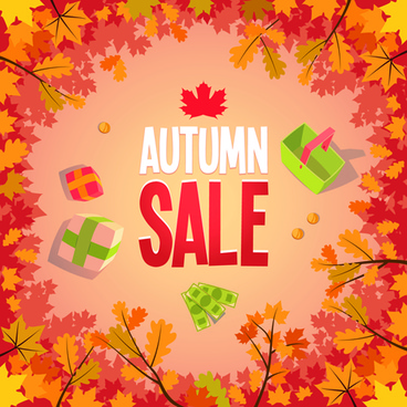 autumn promo poster sale vector