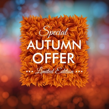 autumn promotions poster vector