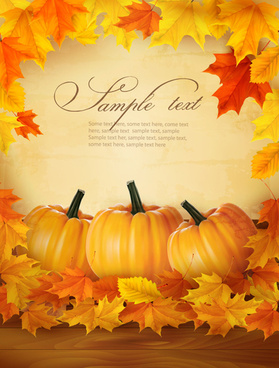 autumn pumpkin with wood board background vector
