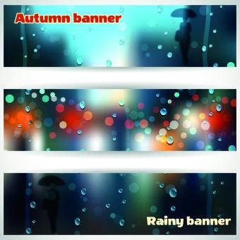 autumn rain banner vector