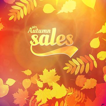 autumn sale background set vector