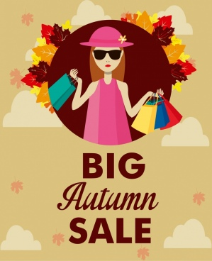 autumn sale background shopping woman icon leaves decor