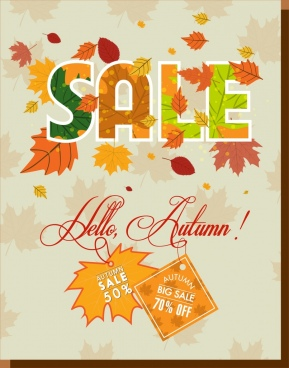 autumn sale banner colorful leaves text ornament