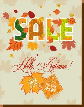 autumn sale banner colorful leaves text ornament