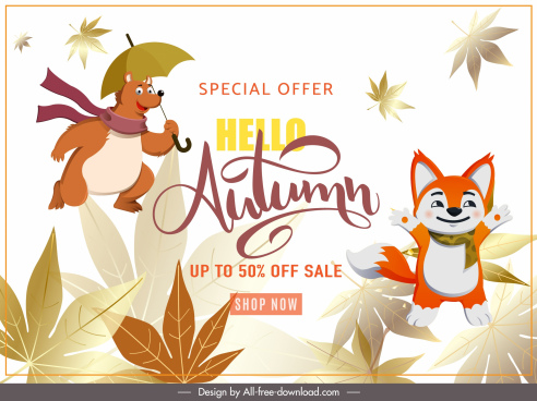 autumn sale banner cute stylized animals leaves sketch