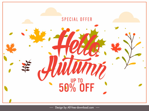 autumn sale banner template bright leaves decor