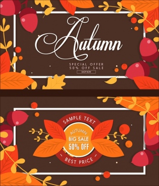 autumn sale banners orange leaves calligraphic decor