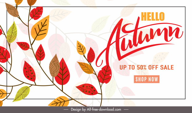 autumn sale poster bright colorful classic leaves decor