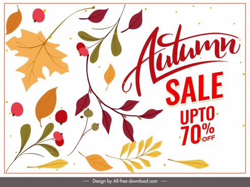 autumn sale poster classical nature elements decor