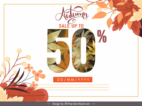 autumn sale poster figure sketch elegant leaves decor