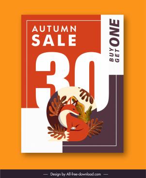 autumn sale poster flat colorful classic nature elements