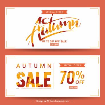 autumn sale poster templates bright leaf texts decor