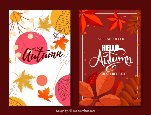 autumn sale poster templates elegant leaves decor