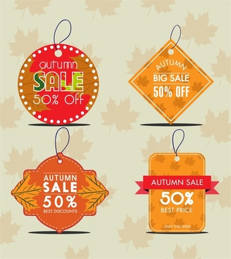 autumn sale tags collection leaves background design