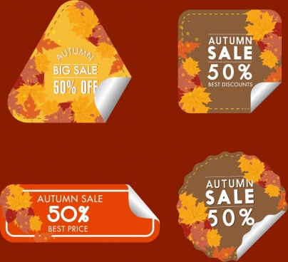 autumn sale tags collection yellow leaves decoration