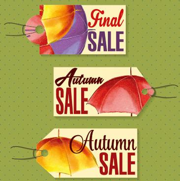 autumn sale tags design graphics vector
