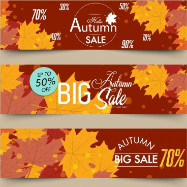 autumn sales banners horizontal design brown leaves decor