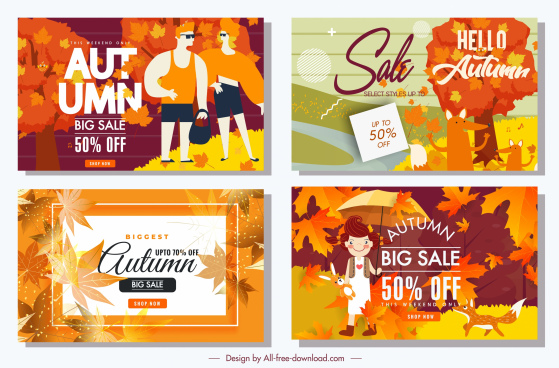autumn sales banners orange leaves people animals decor