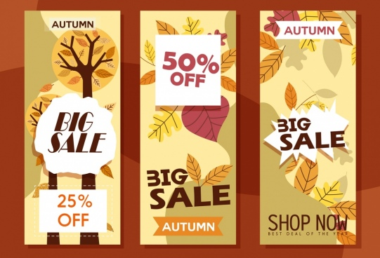 autumn sales banners vertical design leaves icons ornament