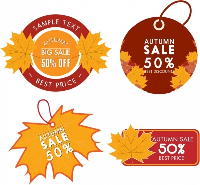 autumn sales tags collection yellow leaves decoration