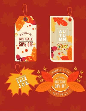 autumn sales tags templates vertical circles leaves decor