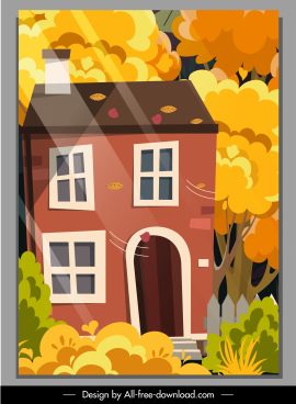 autumn scene background house falling leaves sketch