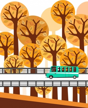 autumn scene painting brown trees bus road icons
