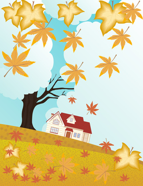 autumn scenery illustration with falling leaves and house
