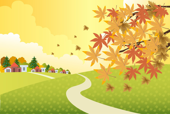 autumn scenery illustration with falling leaves on hill