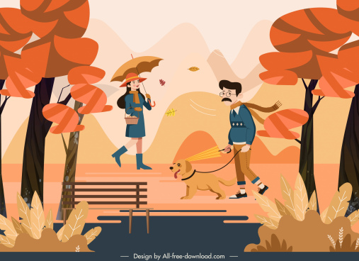 autumn scenery painting lifestyle sketch cartoon design