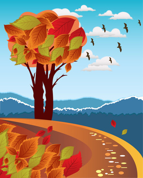autumn scenery vector illustration with birds and leaves