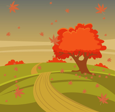 autumn scenery vector illustration with tree on hill