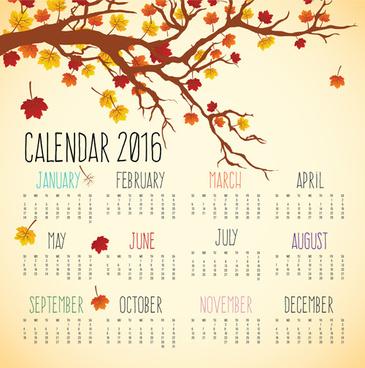 autumn styles calendar16 vector