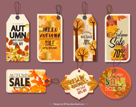 autumn tags templates colored leaves decor flat shapes